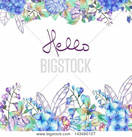 Floral frame border, template for postcard with purple and blue Hydrangea flowers, bluebell and branches painted in watercolor on a white background, greeting card, decoration postcard or invitation