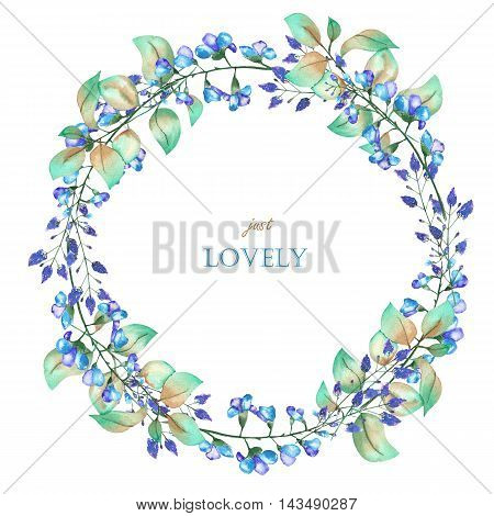 A floral circle frame (wreath) of the watercolor blue flowers and green leaves, a place for a text, painted on a white background