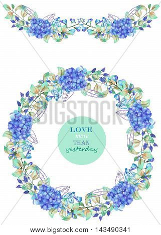 Frame border, garland and wreath of the blue Hydrangea flowers and green leaves, painted in a watercolor on a white background, a greeting card, decoration postcard or invitation