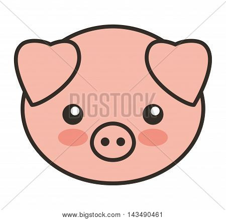 cute pig animal tender isolated icon vector illustration design