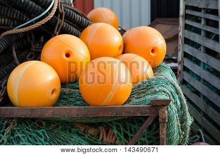 Fishing net with orange float this is made for big boat
