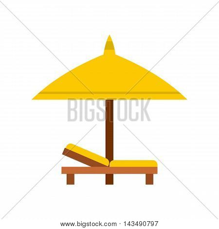 Bench and umbrella icon in flat style isolated on white background. Relax on the beach symbol