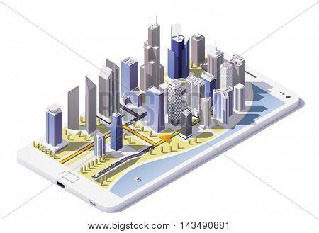 Vector isometric city navigation icon