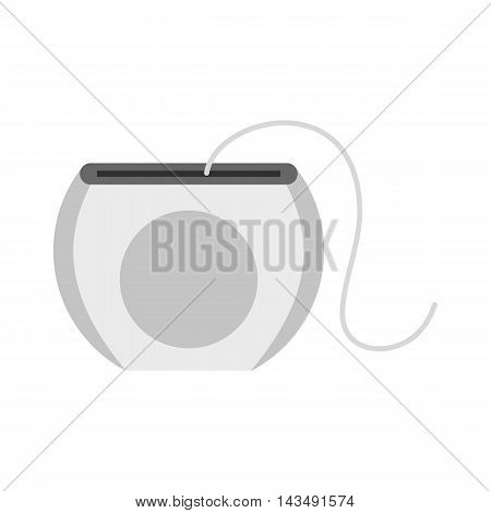 Dental floss icon in flat style isolated on white background. Dentistry symbol