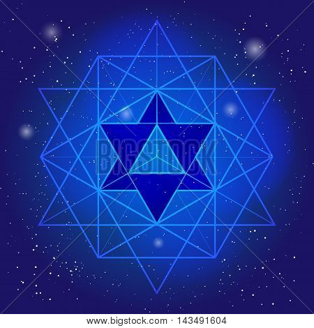 Sacral geometry design with polygon on background of space and stars. Magic symbol, mystical crystal. Spiritual graphic