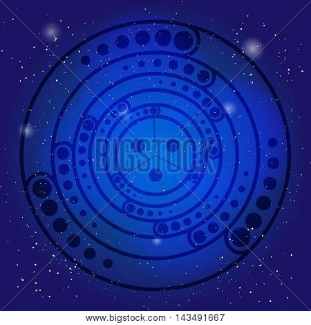 Spiritual sacred symbol on the deep blue cosmic sky. Sacral geometry in universe