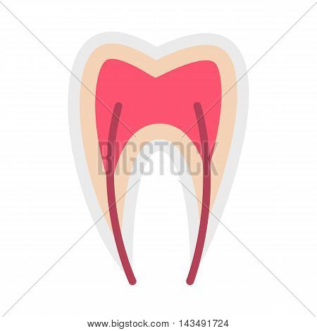 Tooth nerve icon in flat style isolated on white background. Treatment symbol