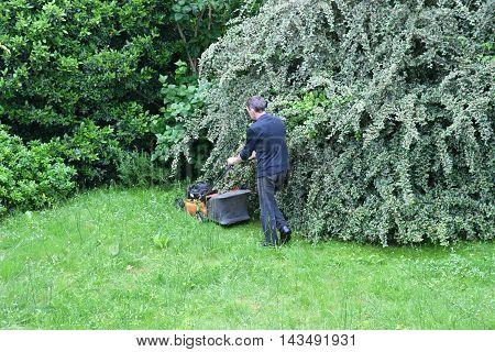 Verneuil sur Seine France - june 27 2016 :a man is cutting lawn in a garden