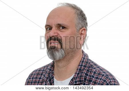 Angry Balding Man With Beard Sneers At The Camera