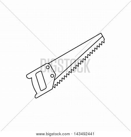 Hand saw tool icon in outline style isolated on white background