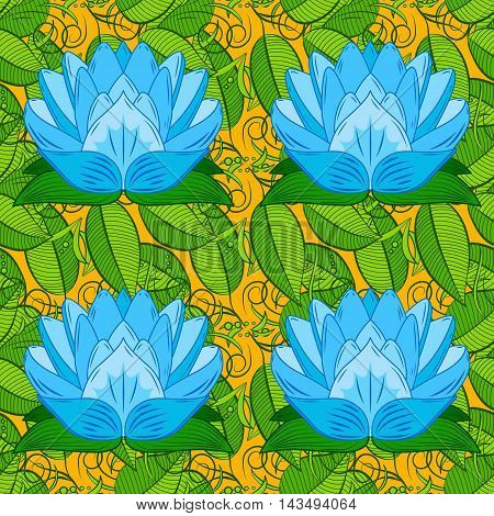 Oriental pattern yellow green leaves background with blue lotus. Mandala. Vector illustration.