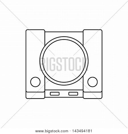 Video game console icon in outline style isolated on white background