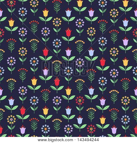 Bright seamless pattern with flowers and berries in red yellow blue and lilac colors on blue background