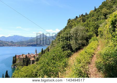 Hiking Path And Panorama Of Lakeside Village Varenna At Lake Como With Mountains In Lombardy, Italy