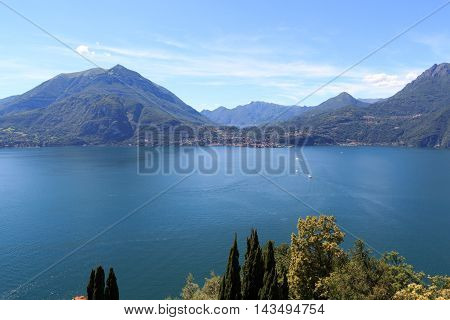 Panorama Of Lake Como With Mountains In Lombardy, Italy