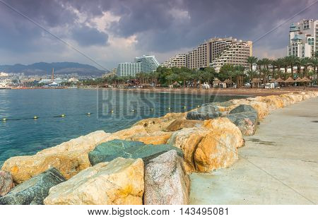 Central public beach in Eilat - famous resort and recreation town in Israel