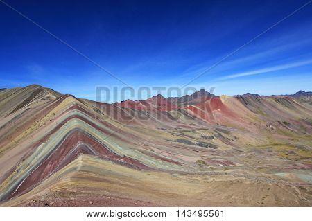 The beautiful coloured Rainbow Mountains in southern Peru near Cusco