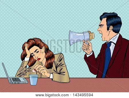 Angry Boss Screaming in Megaphone on the Woman in Office. Pop Art Vector illustration
