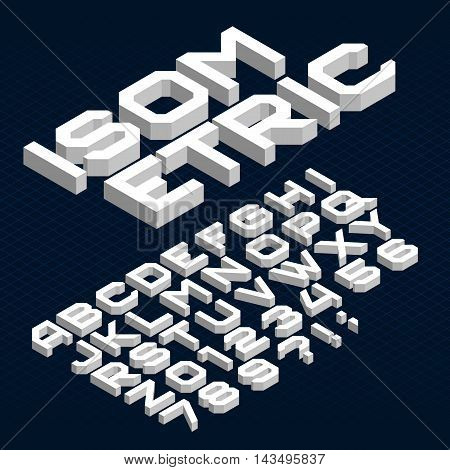 Isometric alphabet font. Type letters, numbers and symbols. Geometric vector typeface for your design.