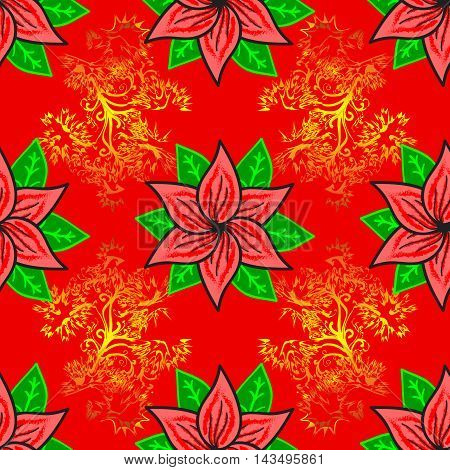 seamless pattern hand drawn red flowers and green leaves on a red background with yellow pattern.