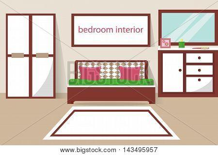 Bedroom furniture, flat style, vector illustration, bed, pillow, carpet, wardrobe, mirror
