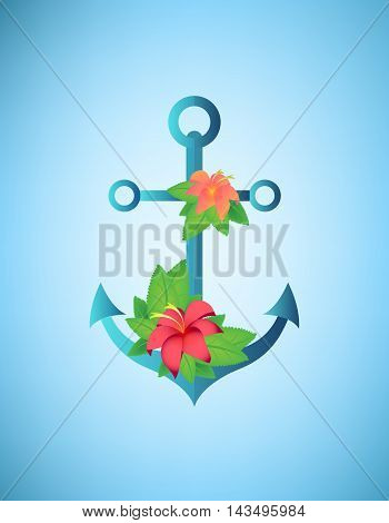 Anchor hibiscus flowers and palm leaves retro vector illustration.