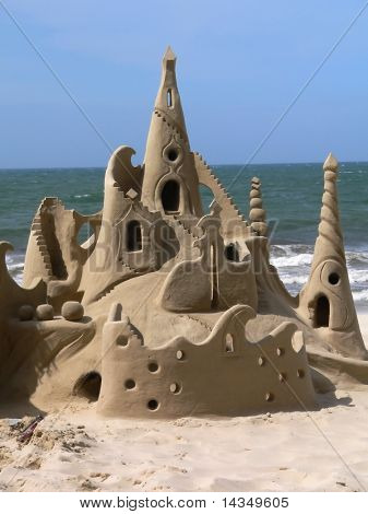 Amazing sandcastle on a tropical beach