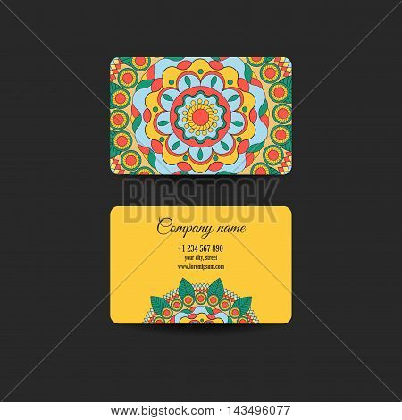 Business Card. Vintage decorative elements. Ornamental floral business cards oriental pattern vector illustration. Islam Arabic Indian turkish pakistan chinese ottoman motifs