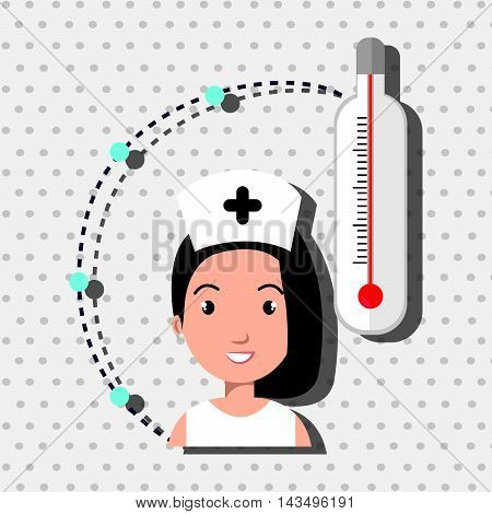 woman medical staff thermometer vector illustration design