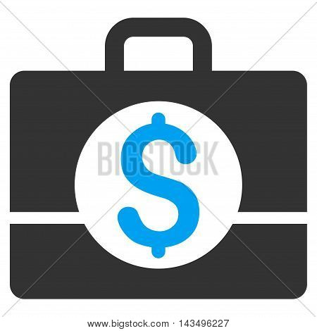 Business Case icon. Vector style is bicolor flat iconic symbol with rounded angles, blue and gray colors, white background.