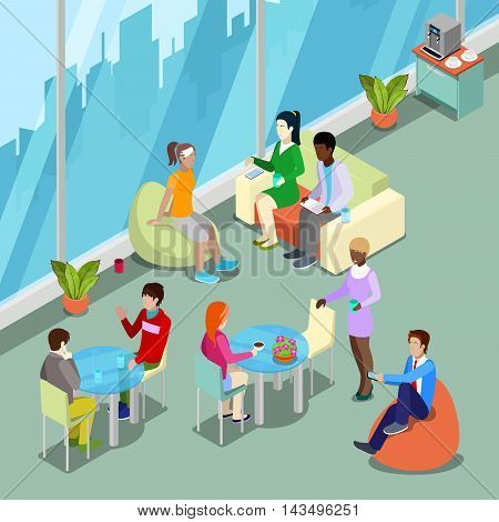 Isometric Interior Office Canteen and Relax Area with People. Vector illustration
