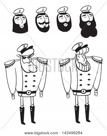 captain, ship, sailor, boat, man, cartoon, hat, vector