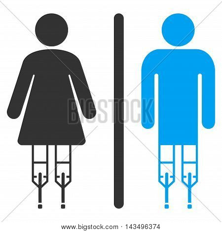 Disabled WC Persons icon. Vector style is bicolor flat iconic symbol, blue and gray colors, white background.