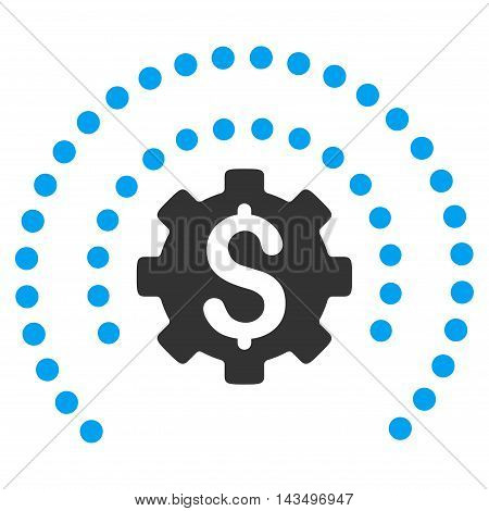 Financial Sphere Shield Options icon. Vector style is bicolor flat iconic symbol with rounded angles, blue and gray colors, white background.