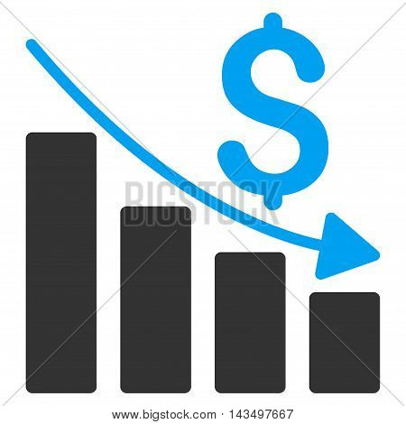 Sales Crisis Chart icon. Vector style is bicolor flat iconic symbol with rounded angles, blue and gray colors, white background.