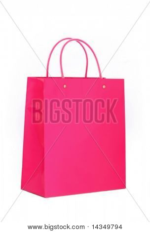 A bright pink glossy shopping bag, isolated on white.