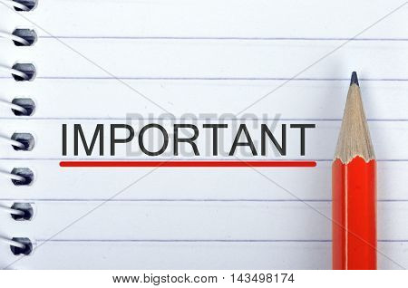 Important text on notepad and red pencil