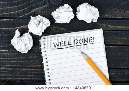 Well done text on notepad and crippled paper