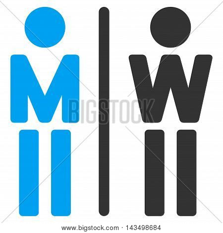 WC Persons icon. Vector style is bicolor flat iconic symbol, blue and gray colors, white background.