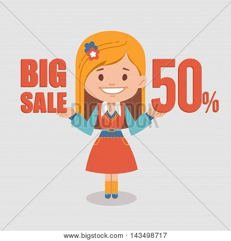 Big discounts , seasonal sale, banner with woman seller. illustration