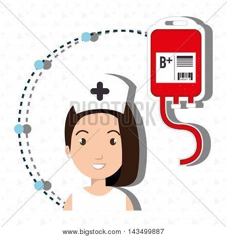 woman medical staff blood vector illustration design