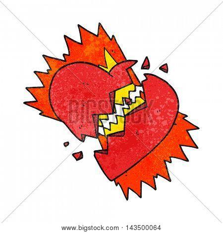 freehand textured cartoon broken heart