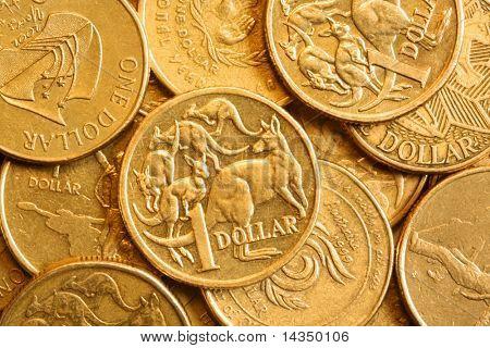 Full-frame of Australian bronze one dollar coins.
