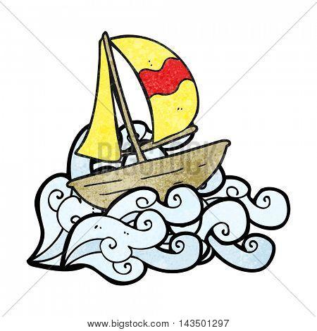 freehand textured cartoon sail ship