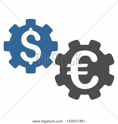International Financial Mechanics icon. Glyph style is bicolor flat iconic symbol with rounded angles, cobalt and gray colors, white background.