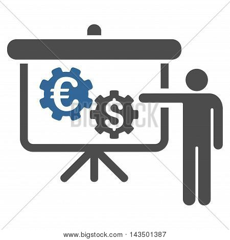 International Industry Project Presentation icon. Glyph style is bicolor flat iconic symbol with rounded angles, cobalt and gray colors, white background.