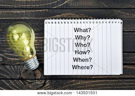 Questions text on notepad and light bulb
