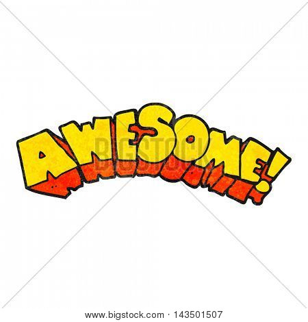 freehand textured cartoon word awesome