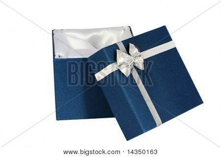 A small satin-lined blue gift box, with silver bow and ribbon.  Isolated on white.