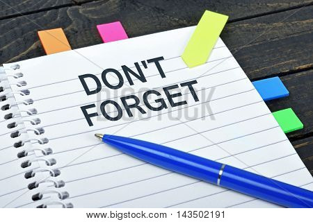 Don't forget word on notepad and pen